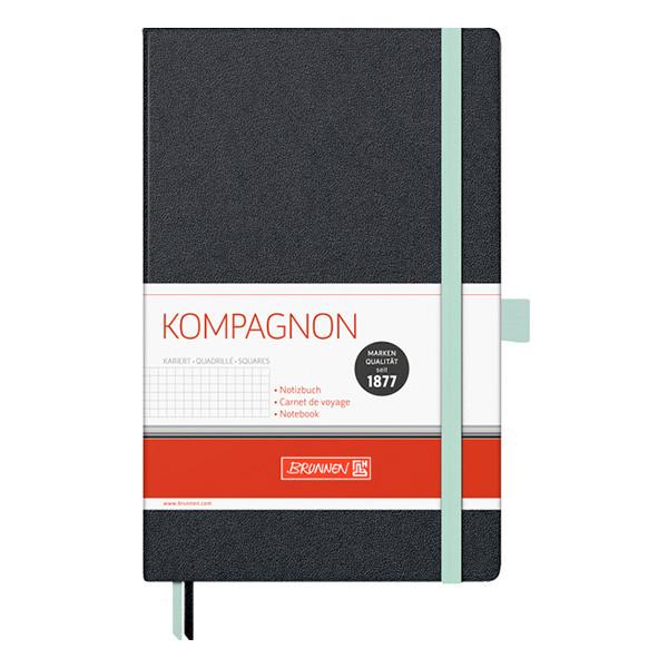 Книга записная А5 Brunnen Компаньон, клетка, черная бирюзовый срез