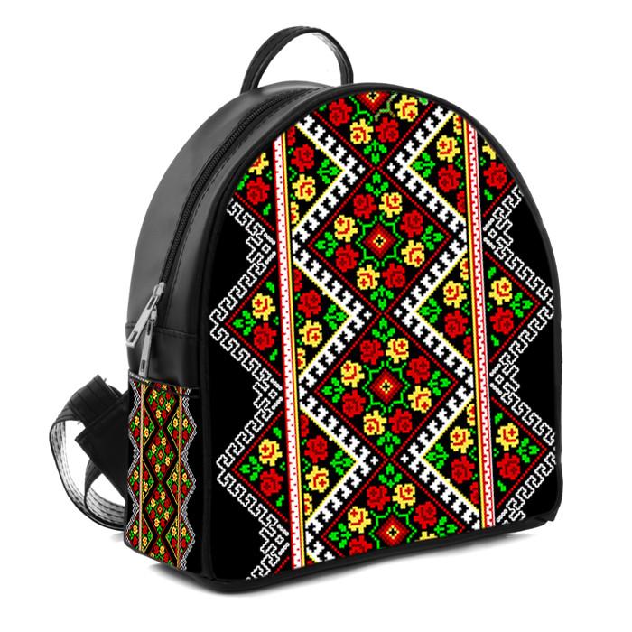Черный городской рюкзак с принтом Незабудка