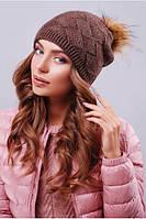 Стильная женская коричневая вязаная шапка 307
