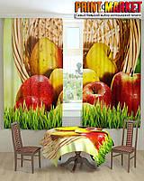Фотошторы для кухни спелые яблоки