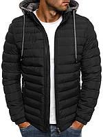 Цветная мужская зимняя стёганая куртка с капюшоном №3