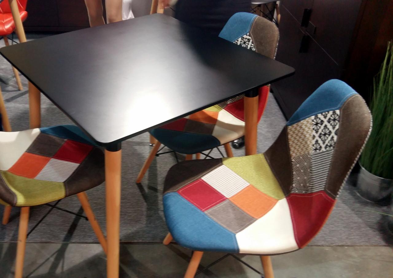 Стол обеденный в скандинавском стиле DT-9017 Evrodim, цвет столешницы черный