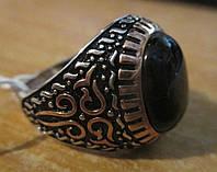 Красивый перстень с черным агатом , размер 20 от студии LadyStyle.Biz