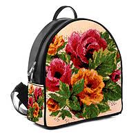 Черный городской рюкзак с принтом Вышиванка Маки