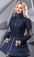 Синяя зимняя расклешенная куртка с вышивкой