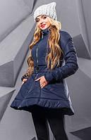 Темно-синяя зимняя расклешенная куртка с вышивкой