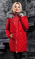 Женская зимняя куртка красного цвта
