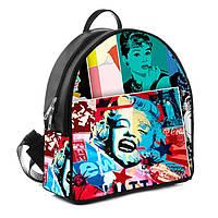 Черный городской рюкзак женский с принтом Знаменитости