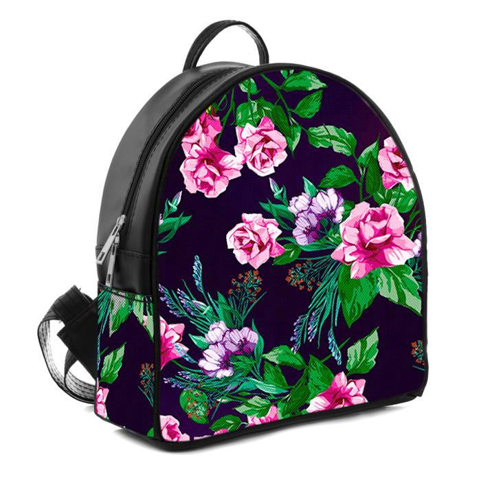 Черный городской рюкзак женский с принтом Цветы
