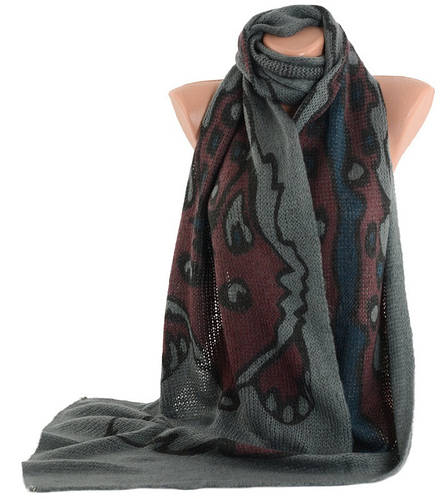 Теплый женский шарф Trаum 2483-38,  мохер, 220х35 см, цвет серый.