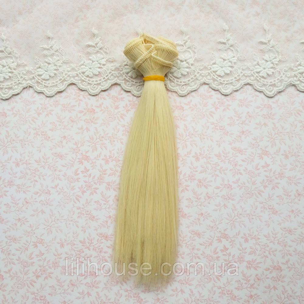 Волосы для Кукол Трессы Прямые БЛОНД 35 см