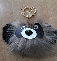 Подарки. Брелки помпоны панда из меха. Брелоки помпоны для ключей оптом 69