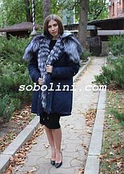 Парка с мехом чернобурки и отстежкой на жилет,  длина 90 см,  в наличии 50/52 размер