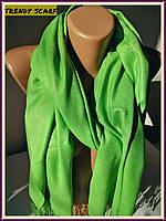 Женский однотонный палантин шарф. Зеленый травяной. Кашемир 180\80