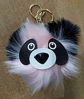 Меховые брелки помпоны панда из меха. Брелоки помпоны для ключей  и сумок оптом 70