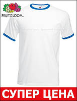 Мужская Футболка c Цветной Окантовкой Fruit of the loom Белый/Ярко-синий 61-168-Aw S