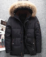 Черная мужская зимняя куртка на пуху
