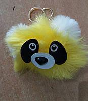 Меховый брелок помпон панда из меха. Брелоки помпоны для ключей и сумок оптом 72