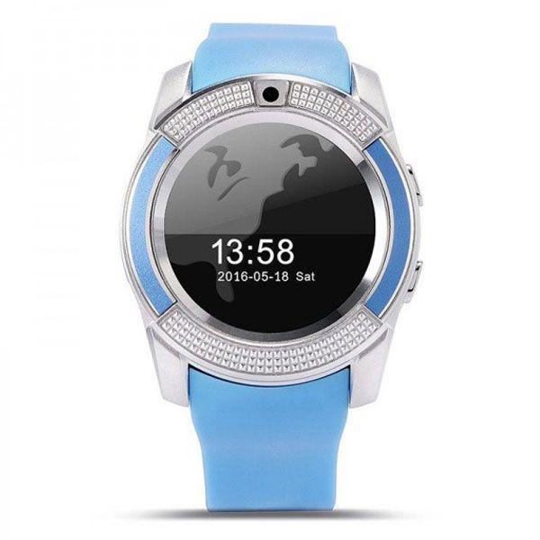 Смарт Часы Smart Watch Phone V8 голубые. Шагометр.
