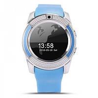 Смарт Годинник Smart Watch Phone V8 блакитні. Шагометр.