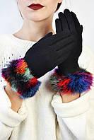 Женские перчатки трикотажные сенсорные Тарт цветной мех размер L