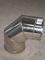 Колено 90 градусов для дымохода из нержавеющей стали марки AISI 304 диаметром 200