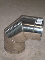 Колено 90 градусов для дымохода из нержавеющей стали марки AISI 304 диаметром 250