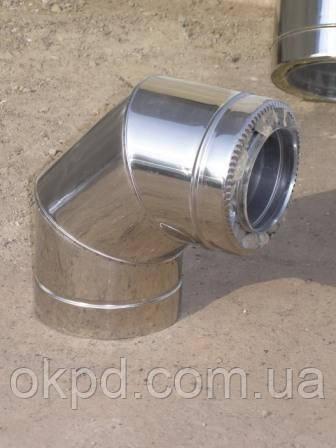 Колено 90 диаметром 140/200 для дымохода из нержавеющей стали марки  AISI 304 в оцинкованном кожухе толщиной