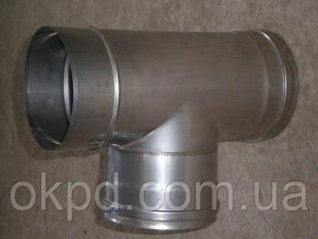 Тройник 45 градусов диаметром 300/360 для дымохода из нержавеющей стали марки  AISI 304 в оцинкованном кожухе