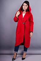 Сарена. Оригинальное пальто-кардиган большие размеры. Красный.