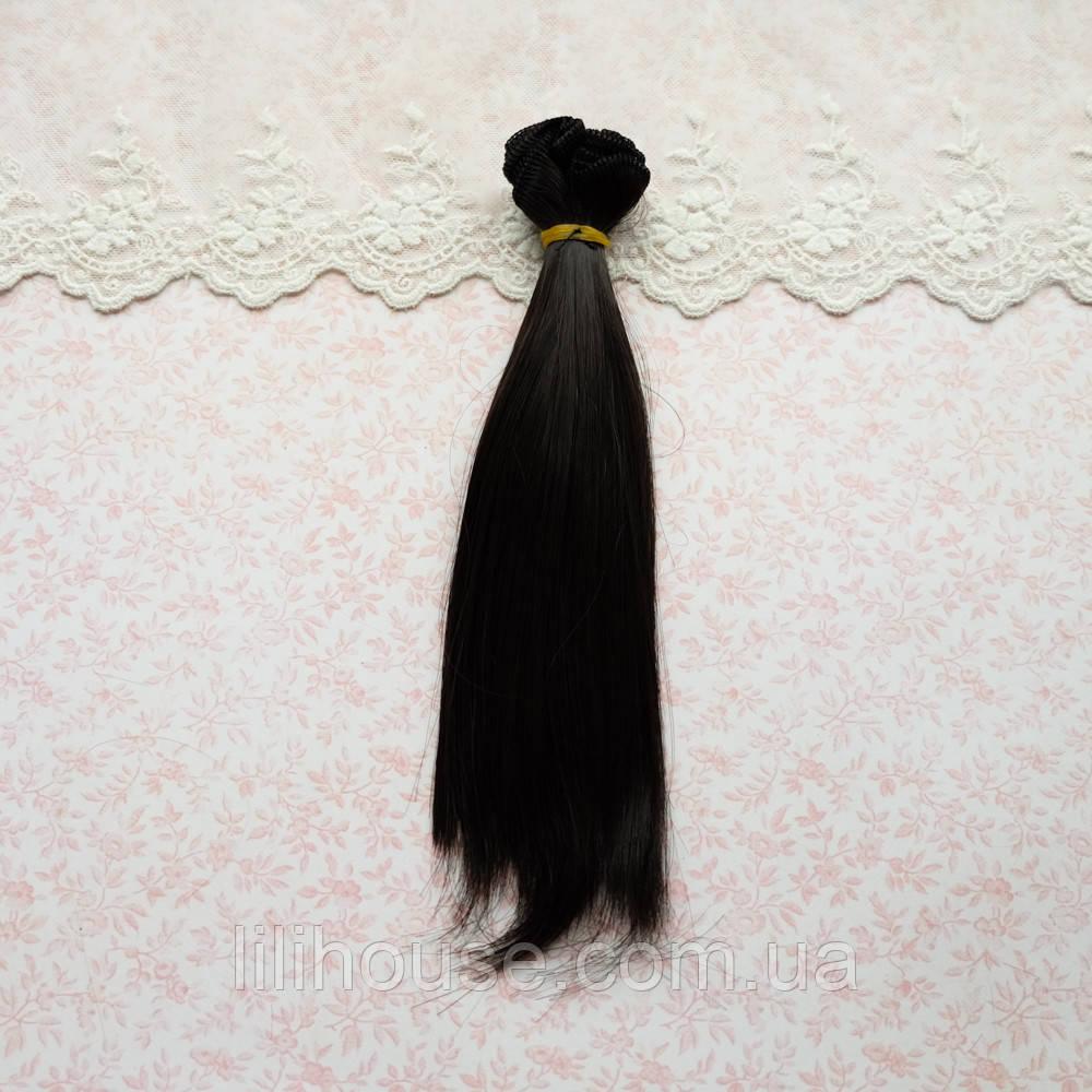 Волосы для Кукол Трессы Прямые ЧЕРНЫЕ 20 см