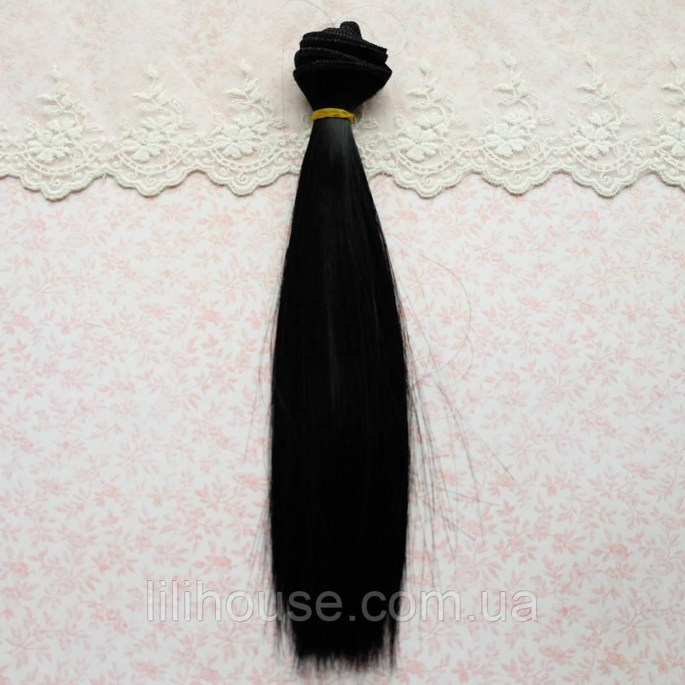 Волосы для кукол в трессах, холодный черный - 25 см