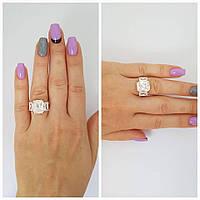 """Позолоченное серебряное кольцо с камнями """"555"""""""