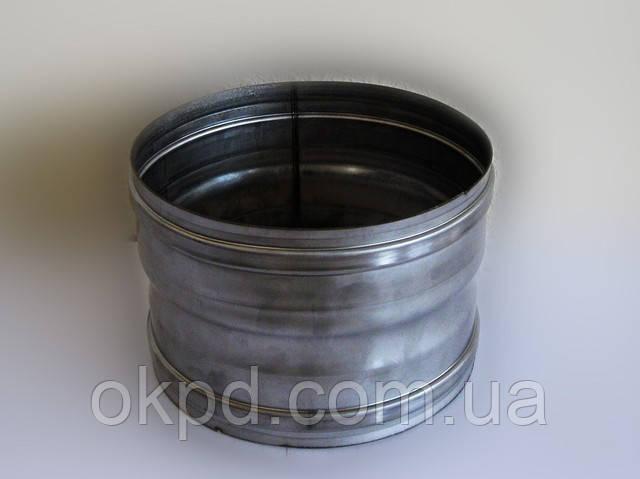 Переходник диаметром 100 для дымохода из нержавеющей стали марки  AISI 304