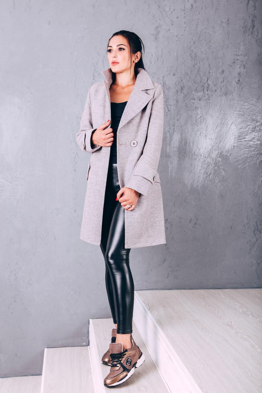 Пальто женское осеннее из шерсти  Д 249 темно-розовое