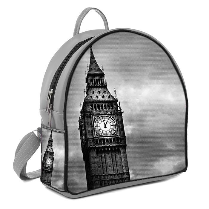Серый городской рюкзак с принтом Биг-Бен, цена 330 грн., купить в ... 5b21cb49990
