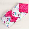 Летний конверт для новорожденных BabySoon Совушки на ярко розовом 80 х 85 см розовый (023)