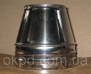 Конус диаметром 220/280 для сенвич дымохода из нержавеющей стали марки  AISI 304 в нержавеющем кожухе толщиной
