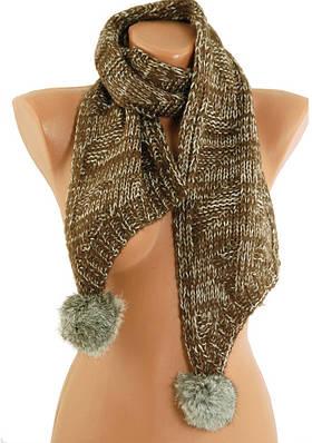 Теплый женский шарф Trаum 2483-42,  мохер, натуральный мех, 150х17 см, цвет коричневый.