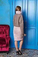 Бежевое длинное женское демисезонное пальто из плащевки ил-10009