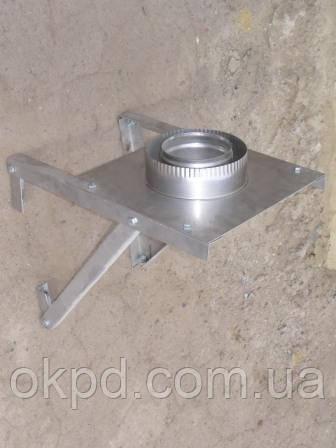 Разгрузочная площадка настенная диаметром 180/250 для дымохода из нержавеющей стали марки  AISI 304