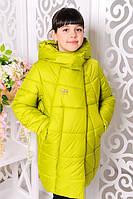Детская (подростковая) зимняя куртка для девочки, размеры:32 — 40 «Ольга», лайм