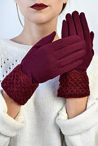 Женские перчатки трикотажные с манжетом Эклер вишневые размер 6,5