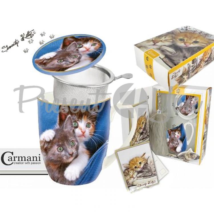 Подарочный набор «Котята» кружка-заварник (400мл)+поздравительная открытка +брелок «Кошачий хвост» (017-2501)  Код: 017-2501 Подарили раз: 6