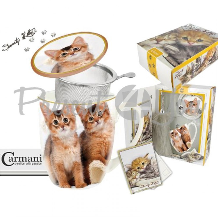 Подарочный набор «Котята» кружка-заварник (400мл)+поздравительная открытка +брелок «Кошачий хвост» (017-2502)