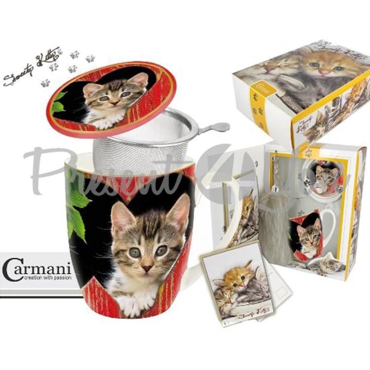 Подарочный набор «Котята» кружка-заварник (400мл)+поздравительная открытка +брелок «Кошачий хвост» (017-2503)