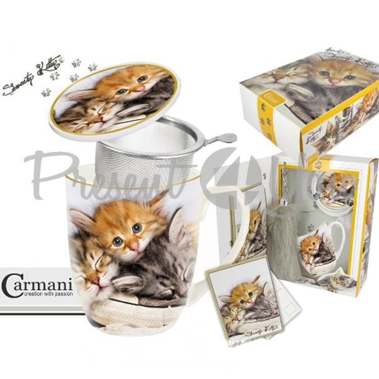 Подарочный набор «Котята» кружка-заварник (400мл)+поздравительная открытка +брелок «Кошачий хвост» (017-2500)