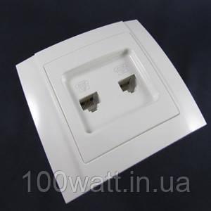 Розетка телефонная  внутренняя двойная АВаТар TF 2-я белая ST 49-2