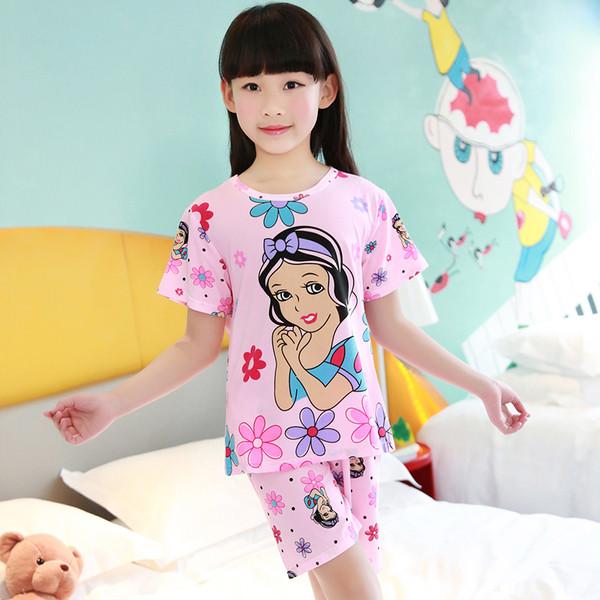 Пижама для девочки трикотаж с коротким рукавом и шертами