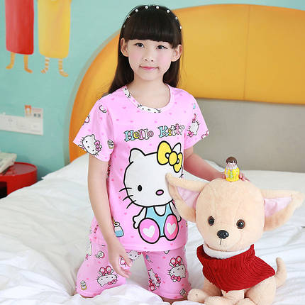 Пижама для девочки трикотаж с коротким рукавом и шертами, фото 2